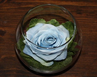 Silk Blue Rose Arranged in a Glass Bowl