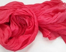 Hot Pink scarf -  Woman Spring Scarf  - Stonewashed Cotton wrap -  Oversized scarf - Crinkled Scarf - Fashion Spring accessories