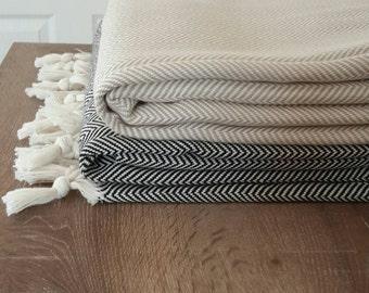 SALE - 100 % Cotton blanket - Woven Throw Blanket - Herringbone Cover Blanket - Large Family Picnic Blanket - Fashion Home linen