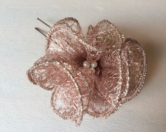 shinny copper flower hairpin