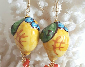 Silver earrings with Baroque Pearl and coral Caltagirone ceramics, lemons