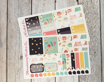 Cute Camping Themed Planner Stickers - Made to fit Vertical Layout
