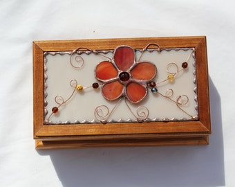 Stained Glass and Wood Music Box - Stained Glass Music Box - Cherry Wood - Stained Glass Flower - Keepsake Music Box - Music Box