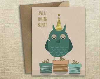 Happy Birthday Owl Gift Present  Card