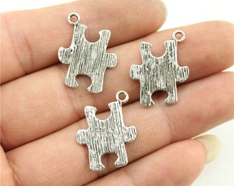5 Puzzle Piece Charms, 2 Sided, Antique Silver Tone (1E-206)