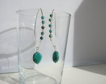 ethnic earrings long, boho chic, turquoise