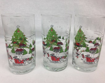 Vintage Christmas Winter Scene Highball Glasses