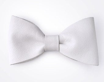 White Leather Hair Bow
