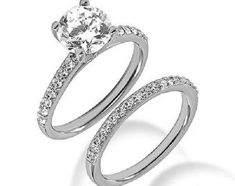 Diamond Ring, Diamond Engagement Ring, Moissanite Engagement Ring, Moissanite Ring, Forever One Moissanite Engagement Ring in 14k White gold