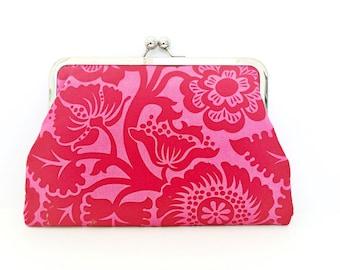 Designer Fabric Handmade Clutch Purse ' Blossom Cherry'