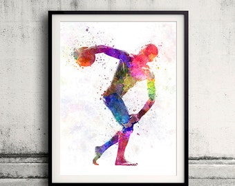 Handsome naked muscular man exercising discobolus in watercolor INSTANT DOWNLOAD 8x10 inches poster watercolor sport illustration - SKU 0997
