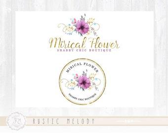Floral Logo Design Photography Logo Wedding Logo Gold Foil Logo Watercolor Logo Boutique Logo Shabby Chic Logo