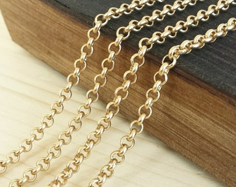 Satin Gold 3.5mm Rolo Chain - 5 feet or 10 feet - Satin Gold Plated - Soldered Links - Nickel Free
