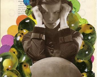Trypophobia Unique Collage Print Katherine Hepburn Surrealist Handmade Collage