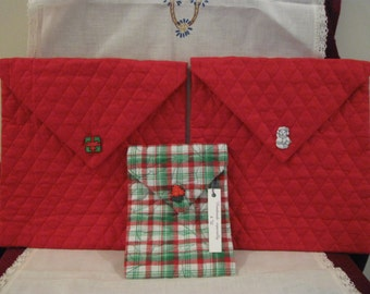 New Handmade Sewn Christmas QUILTED FABRIC CASE Pouche w/ Snap Closure, Storage For Cell Phone IPad Tablet Game, Kindle Reader, Make-Up 495