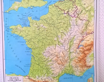 Raised-relief map of France