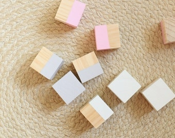 Wooden 9 Piece Block Set Pink White Grey
