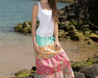 VIOLA - tiered maxi skirt - pdf pattern & eBook, sizes 158 - 46 (Kids M - women XL) / Instant Download