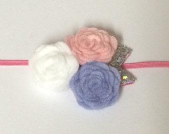 Three Flower Cluster Headband - Photo Prop