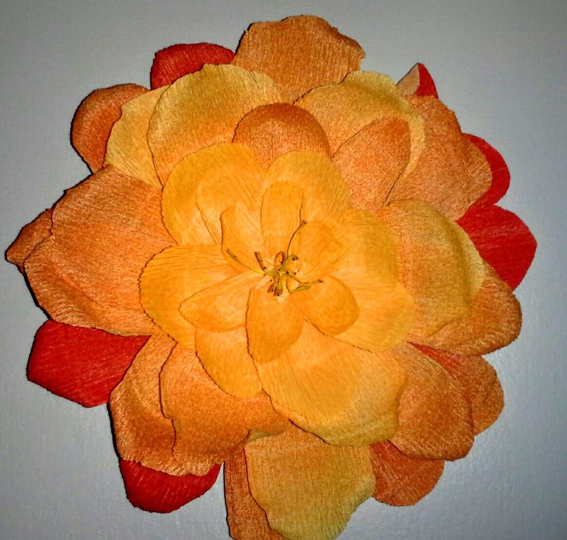 Nuanced orange crepe paper flower wall decor table decor for Crepe paper wall flowers