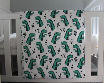 Baby Snuggle blanket - Minky Dinosaurs - Boy