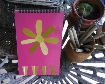 FREE SHIPPING; Hand Painted Spiral Notebook; Wire Bound at Top; Writing, Sketching, Doodling Journal; Unique Flower Shaped Collage