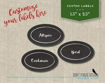 DIY Custom Printable Spice Jar Labels - Modern Chalkboard Oval Spice Jar Labels - Home Organizing - Printable Stickers