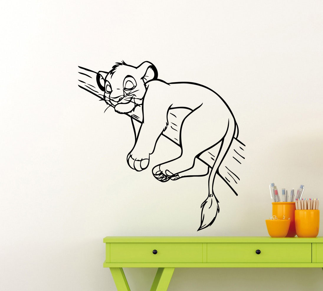 lion king wall decal simba disney cartoon vinyl sticker home. Black Bedroom Furniture Sets. Home Design Ideas