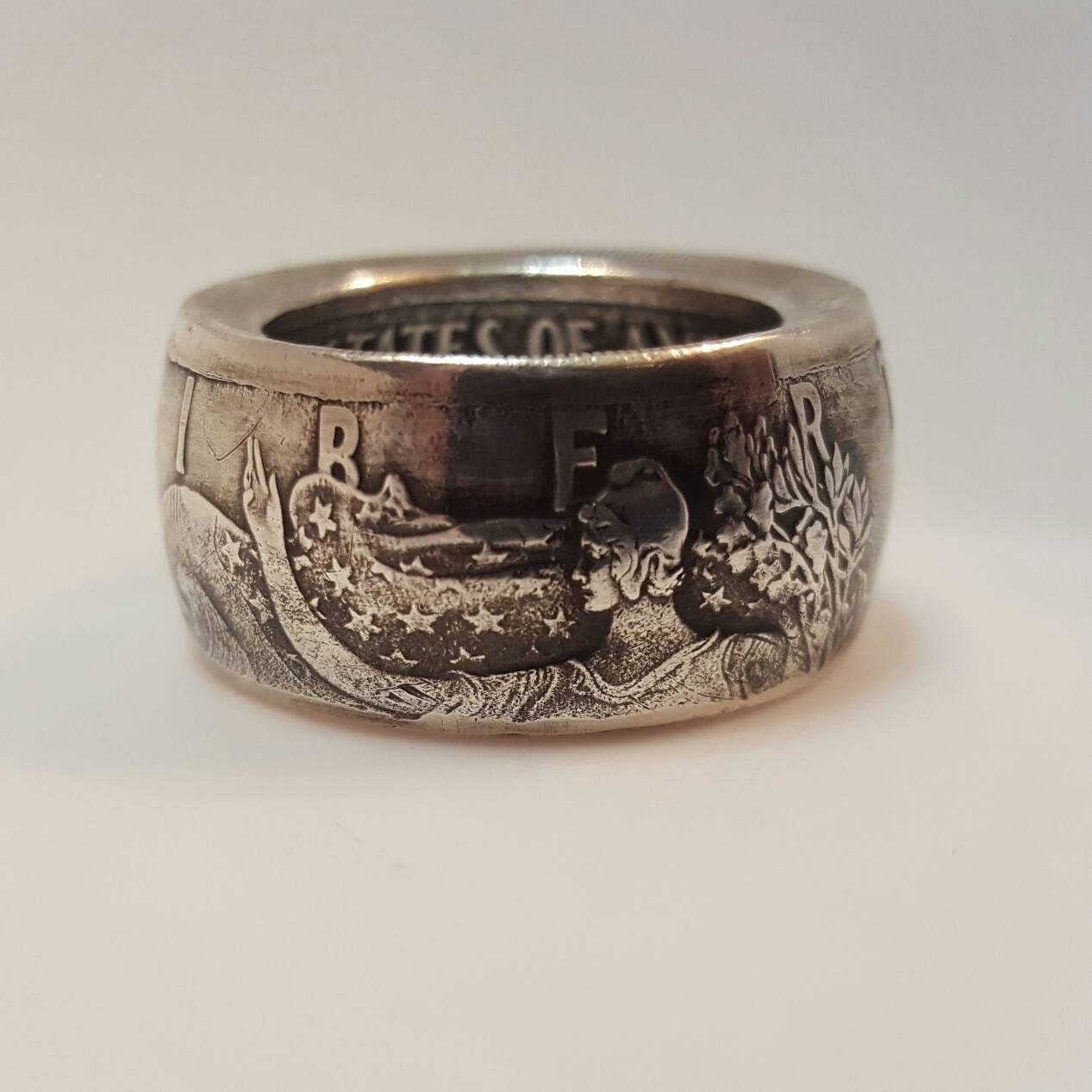 Silver Coin Ring American Silver Eagle Ase Vintage Mans Ring