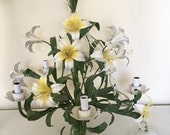 Gorgeous Vintage Yellow and White Lily Tole Metal Chandelier -50's, MINT, Re-Wired