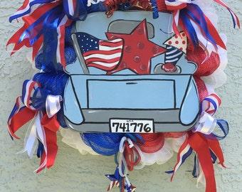 Patriotic wreath, Patriotic decor, July 4th wreath, July 4th decor, Holiday wreath, Holiday decor, star wreath, star decor, wall wreath,