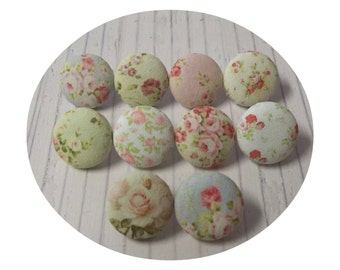 Shabby Chic fabric Push Pins / Thumb Tacks with Floral Tin