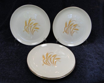 "FOUR Homer Laughlin Golden Wheat Salad Plates 7 1/8"" Set of 4 EXCELLENT!"