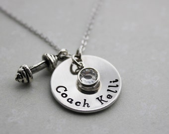 Coach name necklace, coach jewelry, coach dumbbell necklace, trainer necklace, coach necklace, coach trainer necklace, trainer jewelry