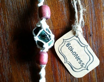 Macrame Key Chain/ Car Trinket with Kambala Jasper