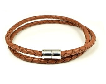 Braided Leather Wrap Bracelet with Magnetic Sterling Silver Clasp