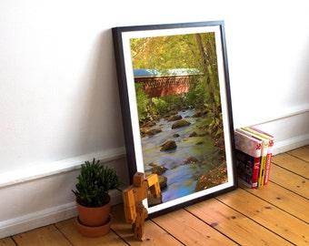 covered bridge, nissitissit bridge, river, brookline, new hampshire, long exposure, fall foliage, photography, fine art print