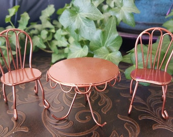 Miniature Copper Bistro Table and 2 Chairs