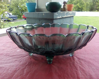 Vintage Indiana Footed Pressed Fruit Glass Bowl Smokey/Green and Amber Colors