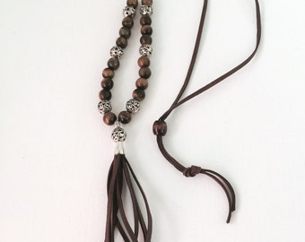 Semi Precious Tiger Eye Necklace with Chocolate Deerskin Lace Tassel
