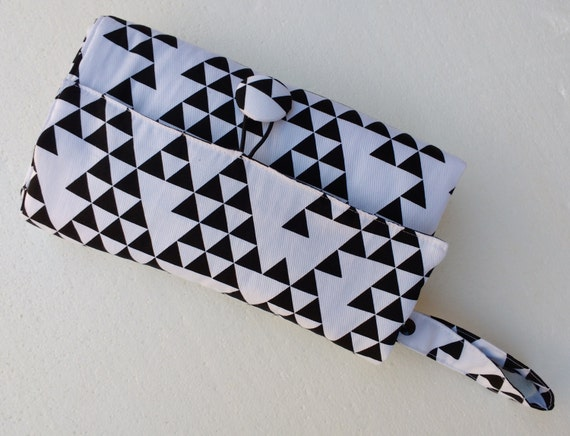 Nappy wallet - Nappy Wallet with waterproof Change Mat- diaper bag- three or two pockets-black triangles on white