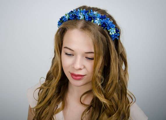 Blue floral crown/ lily headband/ blue wedding/ ukrainian vinok/ ocean blue color