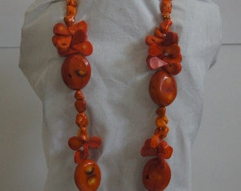 Orange African Coral Necklace