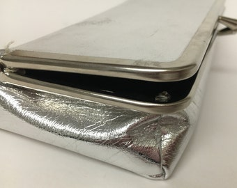 Vintage Silver Clutch, Silver Lame Clutch, Metallic Clutch