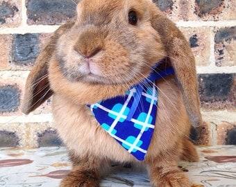 Blue bandana / neckerchief, pet rabbit bandanas, pet rabbit accessories, pet rabbit clothing, pet cat bandana, pet cat collar