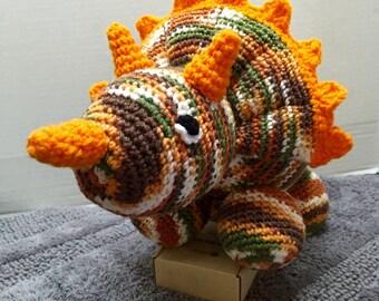 Crochet Dinosaur, Triceratops, Crocheted Dino, Amigurumi Dinosaur