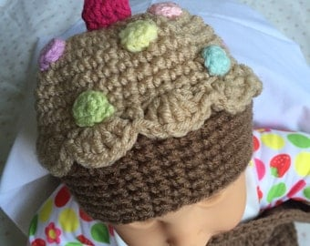 Crocheted Cupcake Baby Cocoon and Beanie Set, Baby Cupcake With Sprinkles Cocoon Set, Baby Cocoon, Crocheted Newborn Photo Prop, Sz 0-3 mo.