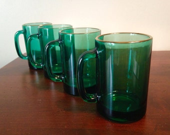 Gold Trim Emerald Green Glass Mugs - Set of 4 / Libbey Juniper Coffee Mugs Cups/ Beer Steins / Forest Green Tankards / Handled Drinking Mugs