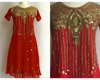 Unique Indian Beaded Gold Red Dress// Short Sleeves// Knee Length