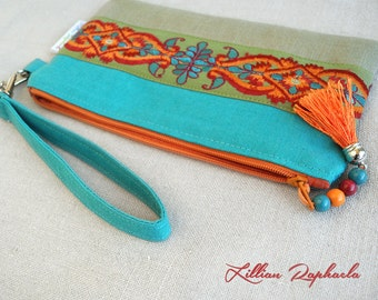 Wristlet Wallet »Baheera« – Wristlet Pouch – Cell Phone Purse – Wristlet Clutch – iPhone Pouch – Small Clutch – Phone Pouch – Wristlet Purse